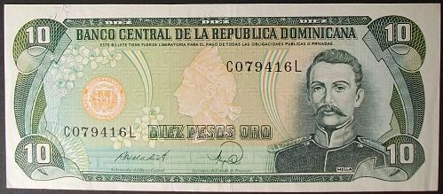 Dominican Republic P119c 10 Pesos Oro XF