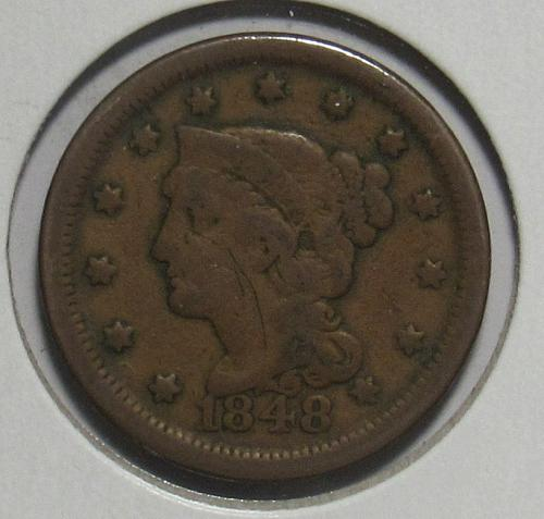 1848 P Braided Hair Liberty Head Large Cent in circulated condition
