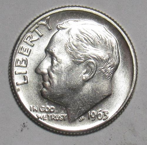 1963 D Roosevelt Dime in BU condition