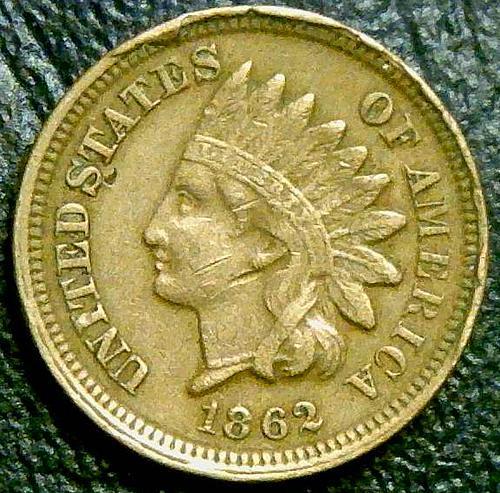 1862 Indian Head Cent Copper-Nickel Oak Wreath With Shield, Civil War coin
