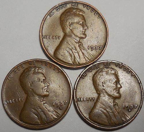 3 Lincoln Wheat Cents 1937-P 1937-D 1937-S