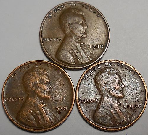 3 Lincoln Wheat Cents 1930-P 1930-D 1930-S