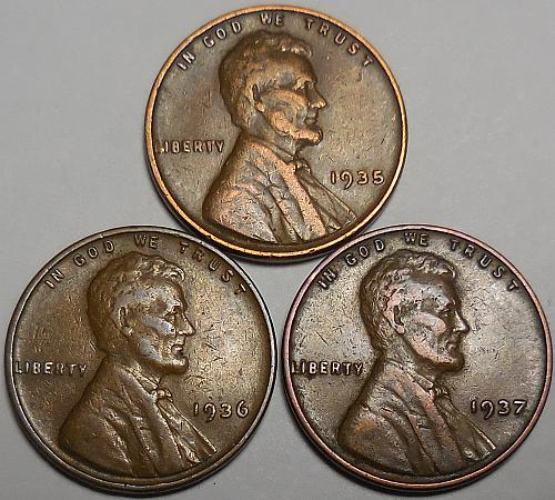3 Lincoln Wheat Cents 1935 1936 1937