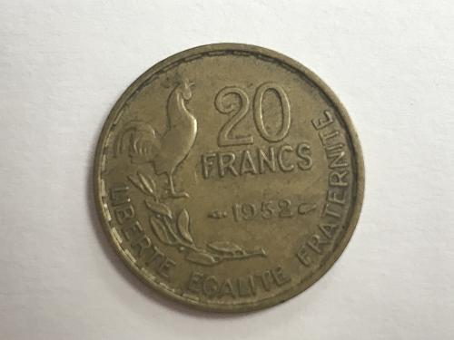 1952 20 FRANCS COIN