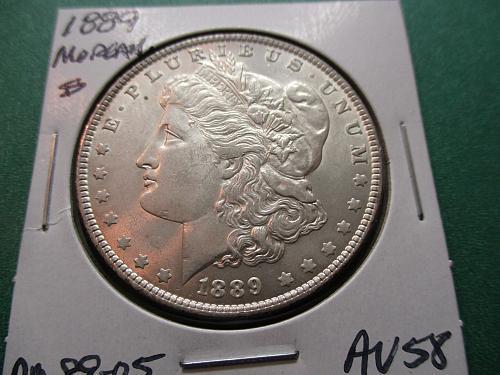 1889  AU58 Morgan Dollar.  Item: DM 89-05.