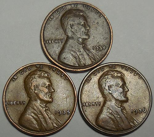 3 Lincoln Wheat Cents 1934 1935 1936