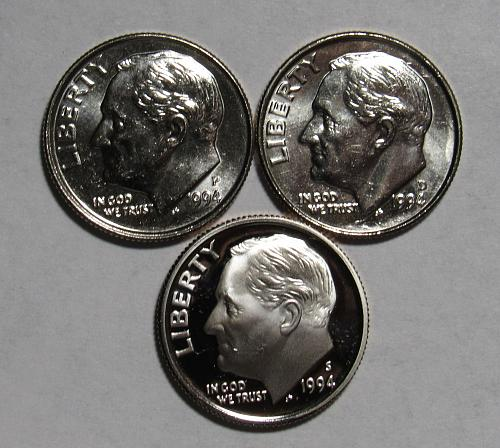 1994 P,D&S Roosevelt Dimes in BU and Proof condition
