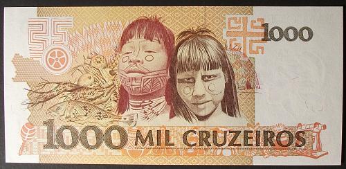 Brazil P231c 1000 Cruzeiros AU++