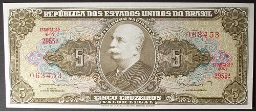 Brazil P176a 5 Cruzeiros AU+
