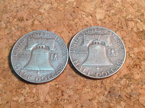 2 Franklin silver 1/2 Dollars