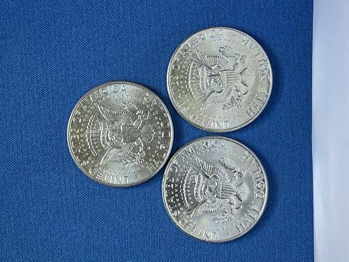 Three BU 1964 P Kennedy Half Dollars AU58 90% Silver