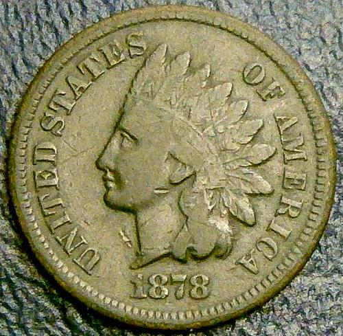 1878 Indian Head Cent Bronze Composite Penny Mintage: 5,799,850