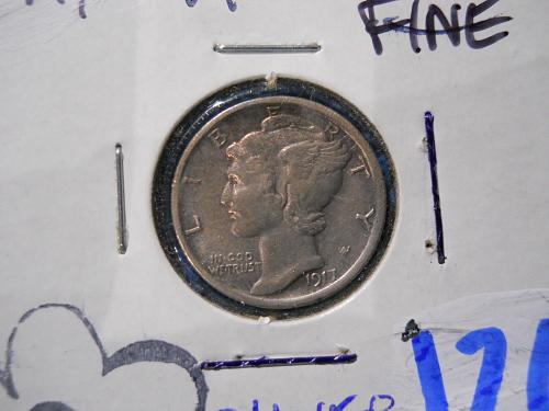 1917 (P) Mercury Dime.  Extremely Fine 45/About Uncirculated 50 Grade.