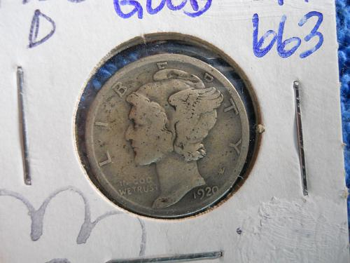 1920-D Mercury Dime (#1).  Good Grade.  Original Surfaces.