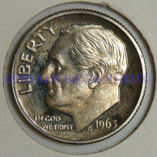 1963 Roosevelt Silver Dime Toned Cameo Proof