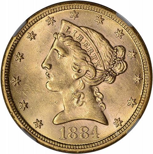 $5.00 1884-S NGC MS61 PQ - ToughCOINS