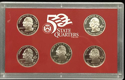 2005  11 coin set with 90% silver Dime, Half and five state silver Quarters