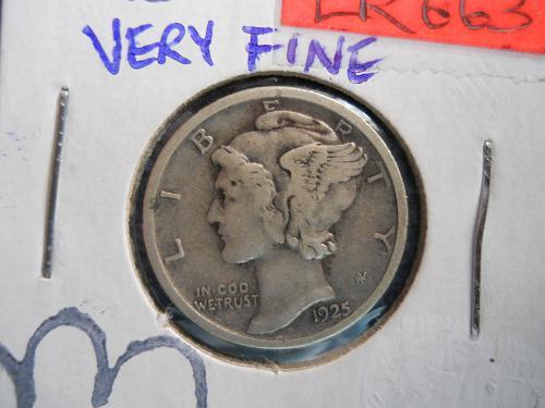 1925 (P) Mercury Dime.  Fine Grade.  Original Surfaces.