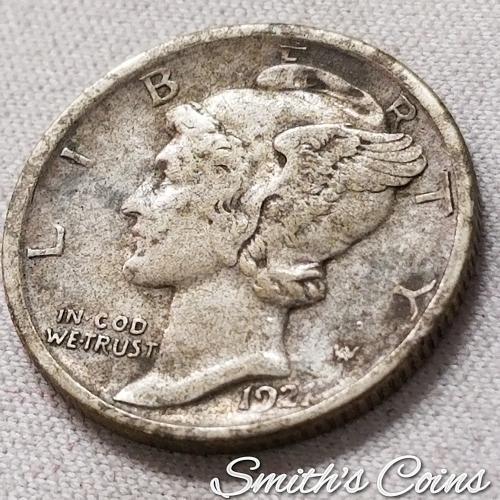 1921 D ~ Mercury Dime ~ VF 25
