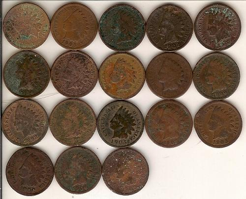 Collection of 18 Indian Head Pennies