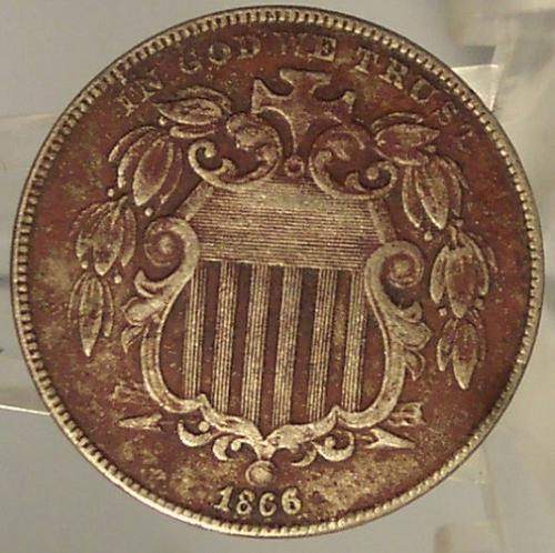 1866 Shield Nickel Typ 1 With Rays EF Details #0156