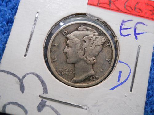 1935 (P) Mercury Dime.  Extremely Fine Grade.  Original Surfaces.