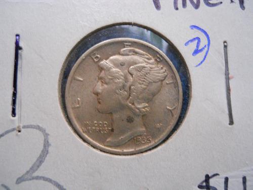 1935 (P) Mercury Dime.  Extremely Fine 45 Grade.  Original Surfaces.