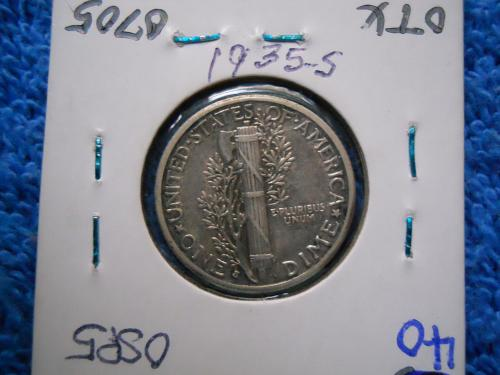 1935-S Mercury Dime.  Extremely Fine Grade.  Steel Grey, Original Surfaces.
