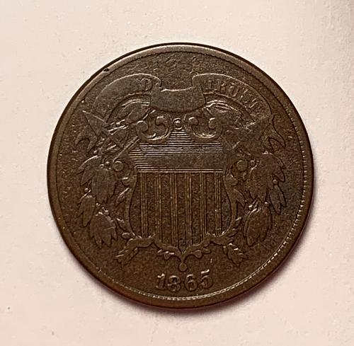 1865 Plain 5 Two Cents VG [2c 23]