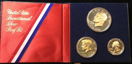 1976-S  three coin Proof Set Bicentennial Silver  Only year for three piece set