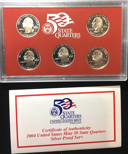 2004-S  Statehood Frosted Proof Silver 5 coin set