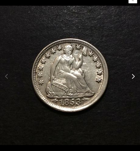 1853 Arrows Seated Liberty Half Dime, AU imo, see pics and description