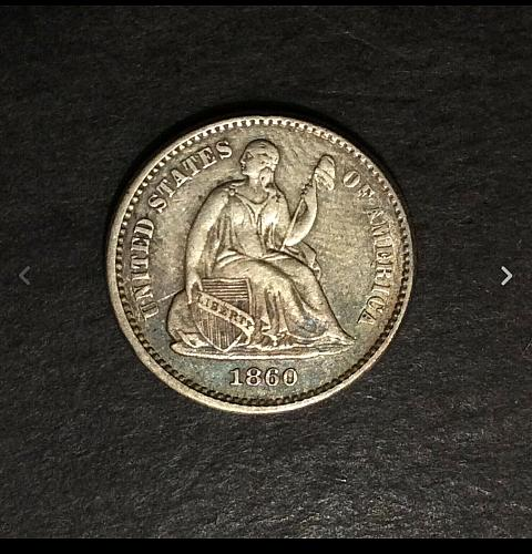 1860 P Seated Liberty Half Dime, XF imo, see pics and description