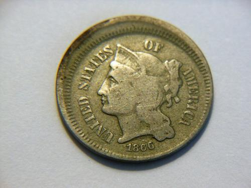 *Scarce* 1866 3 Cent Nickel with BroadStruck Error