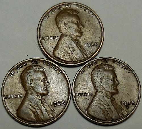 3 Lincoln Wheat Cents 1934-P 1935-P 1935-D