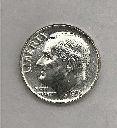 1959 Uncirculated Roosevelt Dime 90% Silver (1013-1)