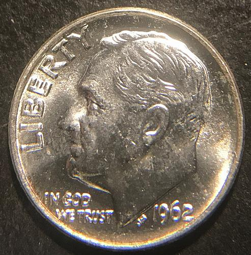 1962 Roosevelt Dimes Silver Composition 90% Silver  MS65