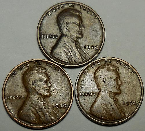 3 Lincoln Wheat Cents 1929 1930 1934
