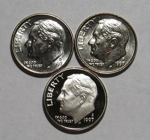 1997 P,D&S Roosevelt Dimes in BU and Proof condition