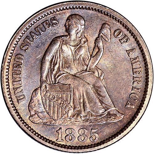1885 Seated Dime Choice BU Unc - ToughCOINS
