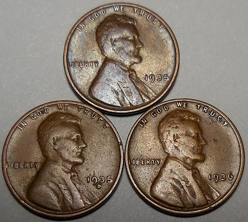 3 Lincoln Wheat Cents 1935P 1935-D 1936-P