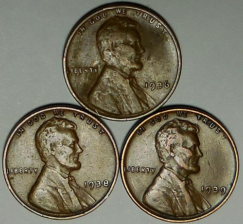 3 Lincoln Wheat Cents 1936 1938 1939