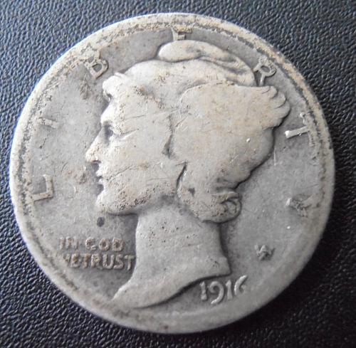 1916 S Mercury Silver Dime (16SAC4)