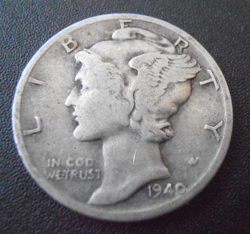 1940 S Mercury Silver Dime (40SAC4)