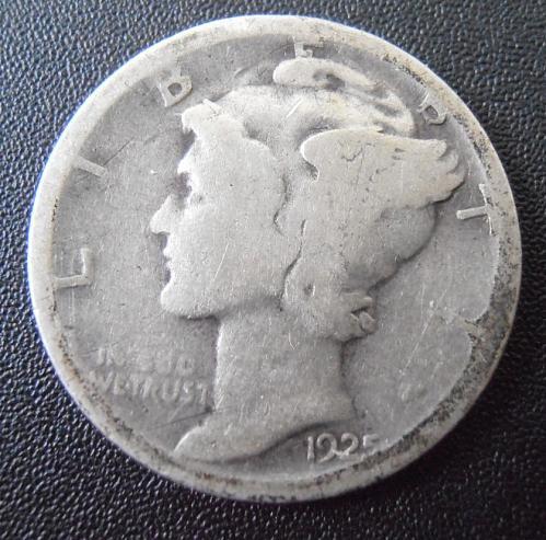 1925 D Mercury Silver Dime,  (25DAC2)