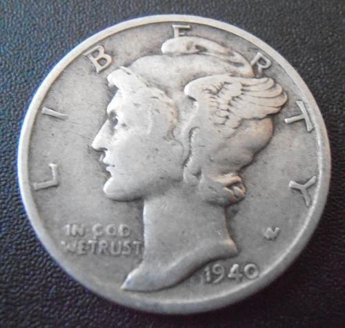 1940 D Mercury Silver Dime,  (40DAC6)