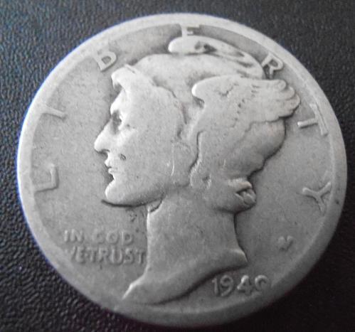1940 D Mercury Silver Dime,  (40DAC8)