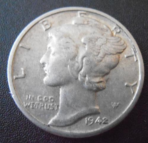 1942 D Mercury Silver Dime,  (42DAC2)