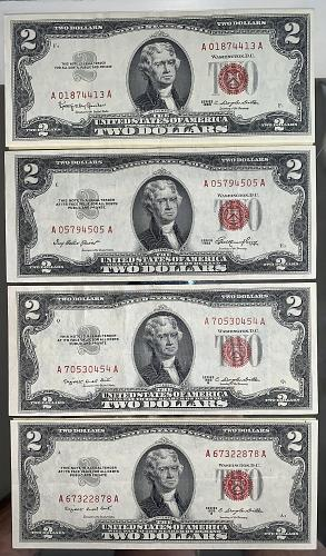 "1953-1963 Mixed Lot (4) $2.00 Crisp & White XF++ PQ US ""Red Seal"" Notes"