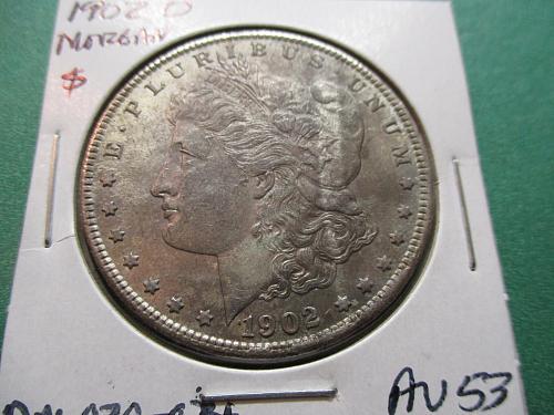 1902-O  AU53 Morgan Dollar.  item: DM 02O-04.